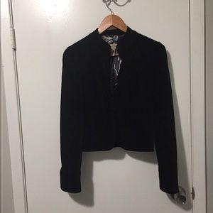 Lucky Brand Black Velvet Cardigan Size Small